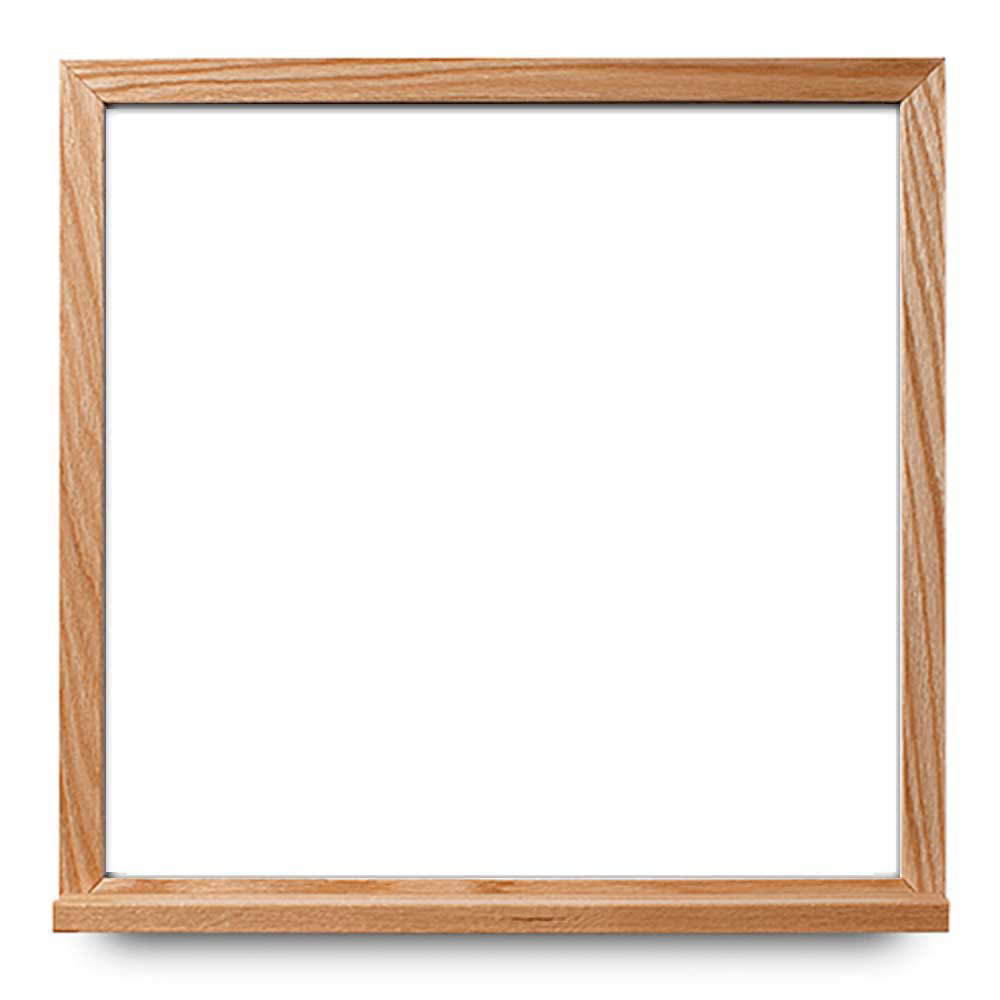 1.5x2-foot whiteboard with narrow oak frame